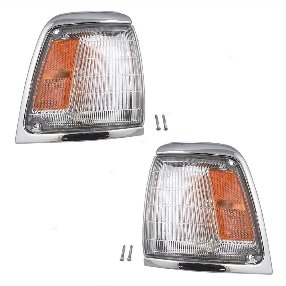 Driver and Passenger Park Signal Corner Marker Lights Lamps with Chrome Trim Replacement for Toyota Pickup Truck 8162035100 8161035100