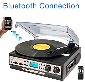 Boytone BT 27R C Bluetooth Connection 3 Speed Stereo Turntable, 2 Built