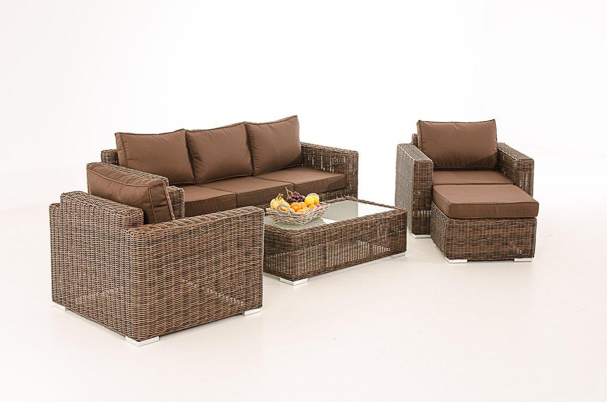 Mendler 3-1-1 Gartengarnitur CP053 Sitzgruppe Lounge-Garnitur Poly-Rattan ~ Kissen terrabraun, braun-meliert
