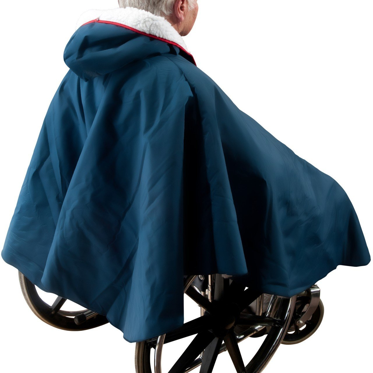 Warm Wheelchair Poncho with Sherpa-Like Lining (Navy Blue) by Unknown (Image #3)