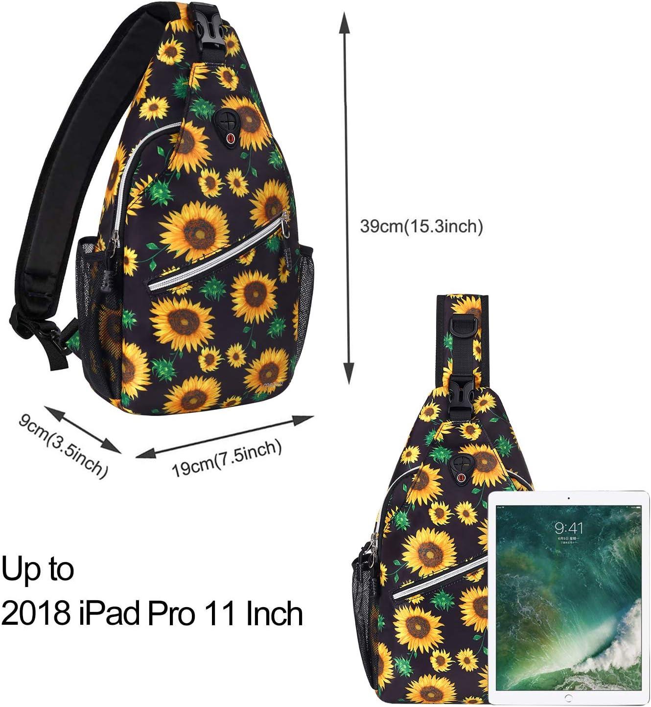 MOSISO Sling Backpack,Travel Hiking Daypack Pattern Rope Crossbody Shoulder Bag Black Base Sunflower