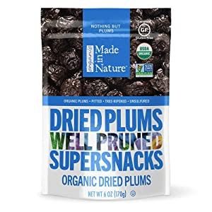 Made In Nature Organic Dried Fruit, Plums, Vegan Snack, 6 Ounce Bags, 6 Count