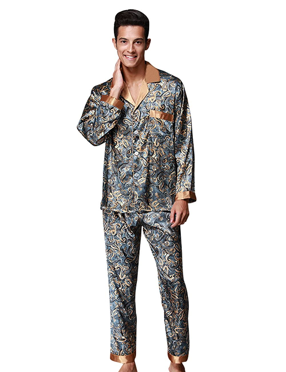Mens Pajamas Set Comfort Fit Top Pants