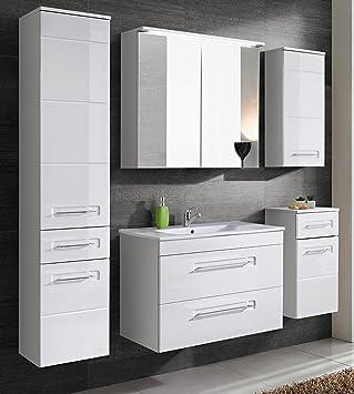 Active Badmöbel-Set/Badmöbelanlage/Komplettbad 6-teilig, weiß hochglanz,  mit Waschtisch 60 cm, Spiegel mit LED-Beleuchtung