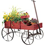 Fall Amish Wagon Decorative Indoor / Outdoor Garden Backyard Planter, Red