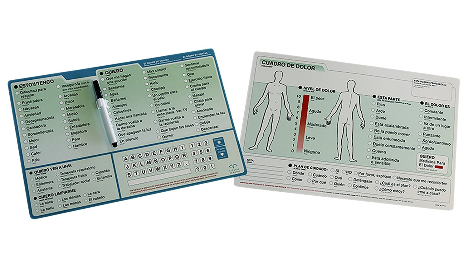 Amazon.com: EZ Communication Boards: Picture Board, English Word Board and Spanish Word Board Bundle: Health & Personal Care