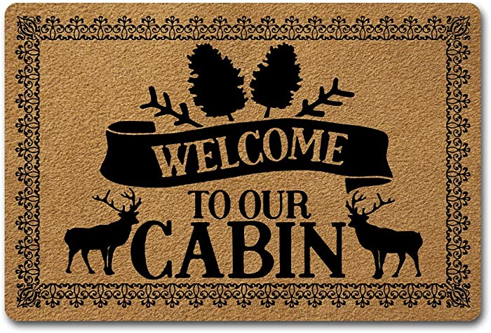 Welcome Door Mats for Home Decor (23.6 x 15.7 inch) Funny Gift Mats with Anti-Slip Rubber Back Kitchen Rugs Personalized Doormat for Entrance Way (Welcome to Our Cabin)