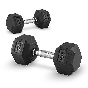 Capital Sports Hexbell 15 Mancuernas 15kg (Par de pesas cortas de 15 kilos cada una