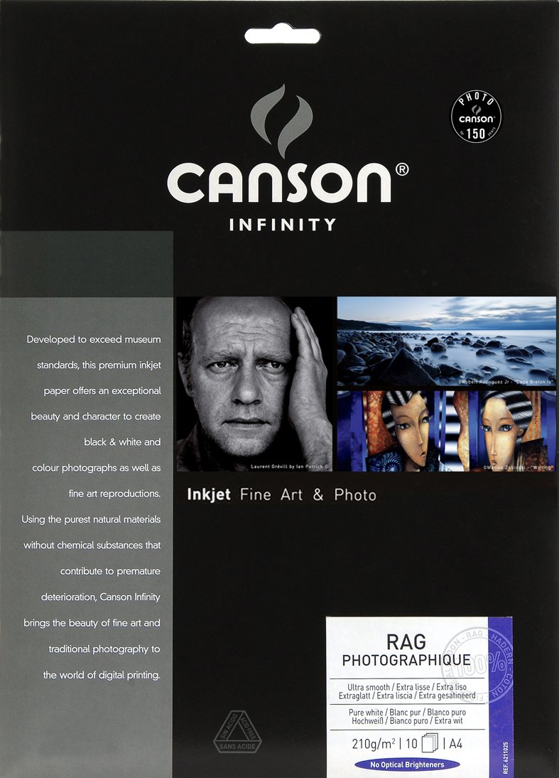 10 Hojas 210g Pack A4 100/% Algod/ón Canson Infinity Rag Photographique