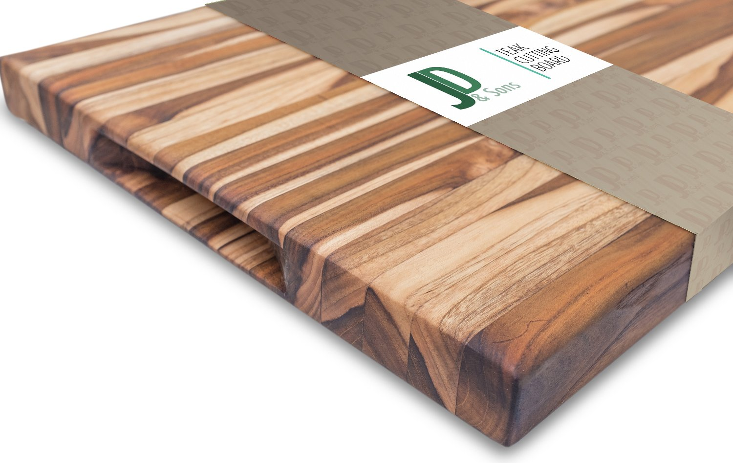 JD&Sons Teak Wood Large Cutting Board Perfect for Home Chefs & Professionals Gentle to Knife Durable Cut Board (20x15x1.5 in.) by JD&Sons (Image #3)