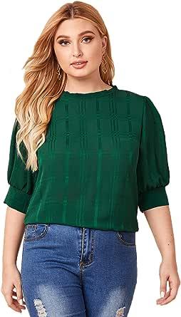 Romwe Women's Summer Plus Size Round Neck Puff Sleeve Keyhole Back Blouse Tops