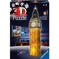 Ravensburger (125883) 3D Puzzle Night Serisi, Big Ben Saat Kulesi