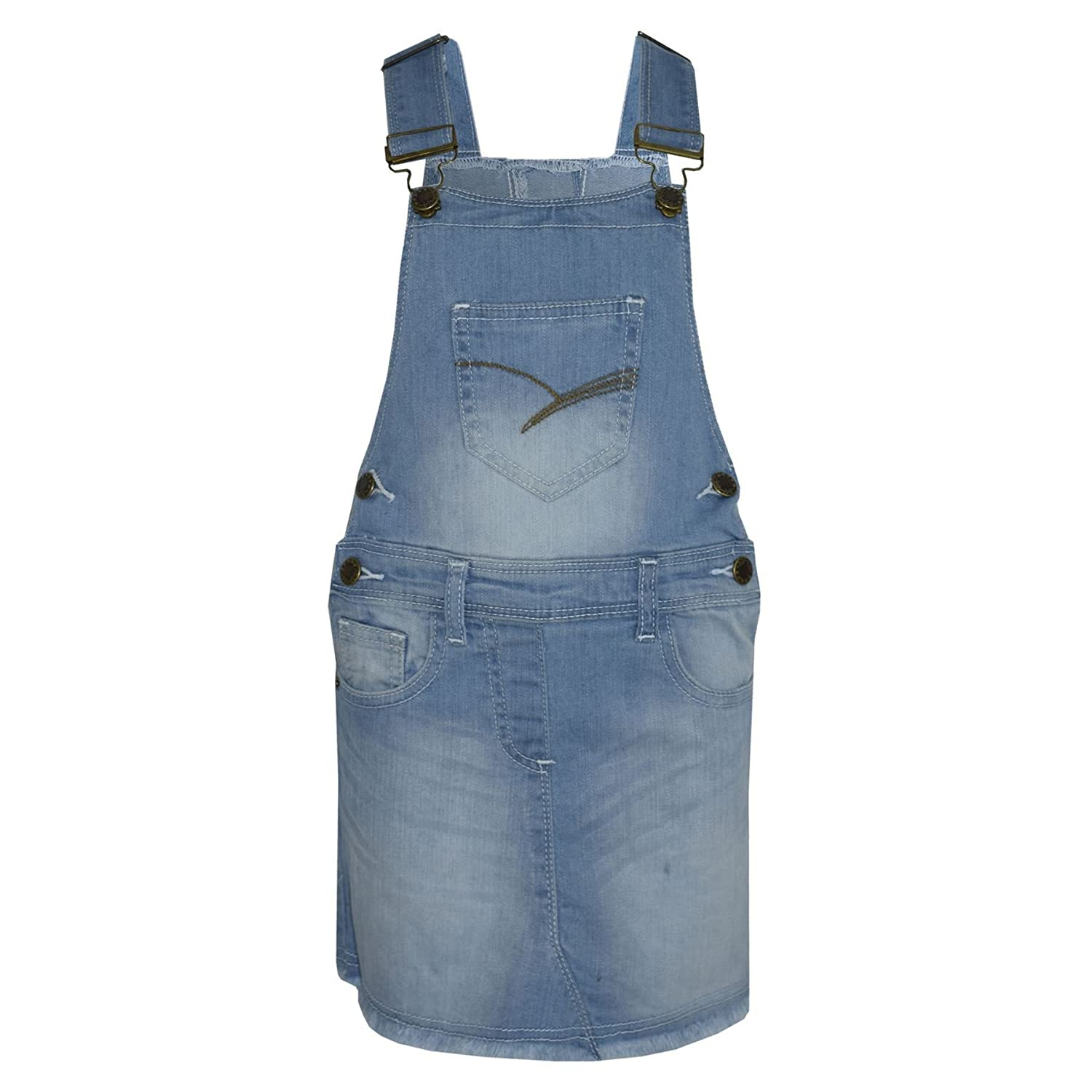 Kids Girls Denim Stretch Dungaree Skirt Jumpsuit Playsuit All In One 2-13 Years