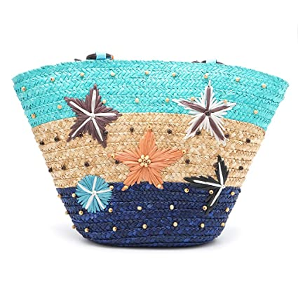 e69d76e8a17b Best-topshop Boho Straw Handbag with Zipper for Women Girls, Starfish Bag  for Shopping Date Party School Outdoor Beach Summer (Blue)