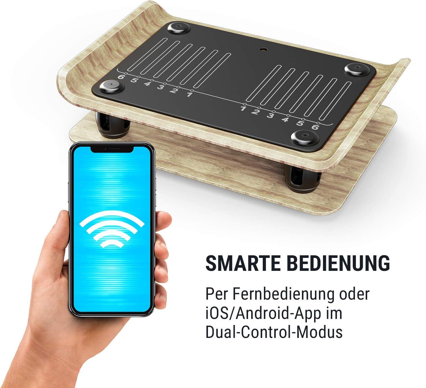 Klarfit Roomik Shake Vibrationsplatte Vibrationstrainer Ganzk/örper Trainingsger/ät schwarz-braun 15-55 Hz - Variabler Schwierigkeitsgrad, Kompaktbauweise, zertifizierte Birke, inkl. Fernbedienung