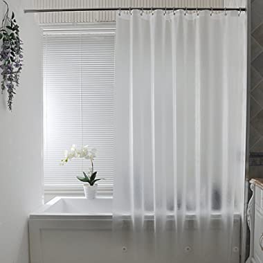Aoohome Clear Shower Curtain Liner, Eva Frosted Bathroom Curtain with 3 Bottom Magnets, Semi-Transparent, 72 x 72 Inch