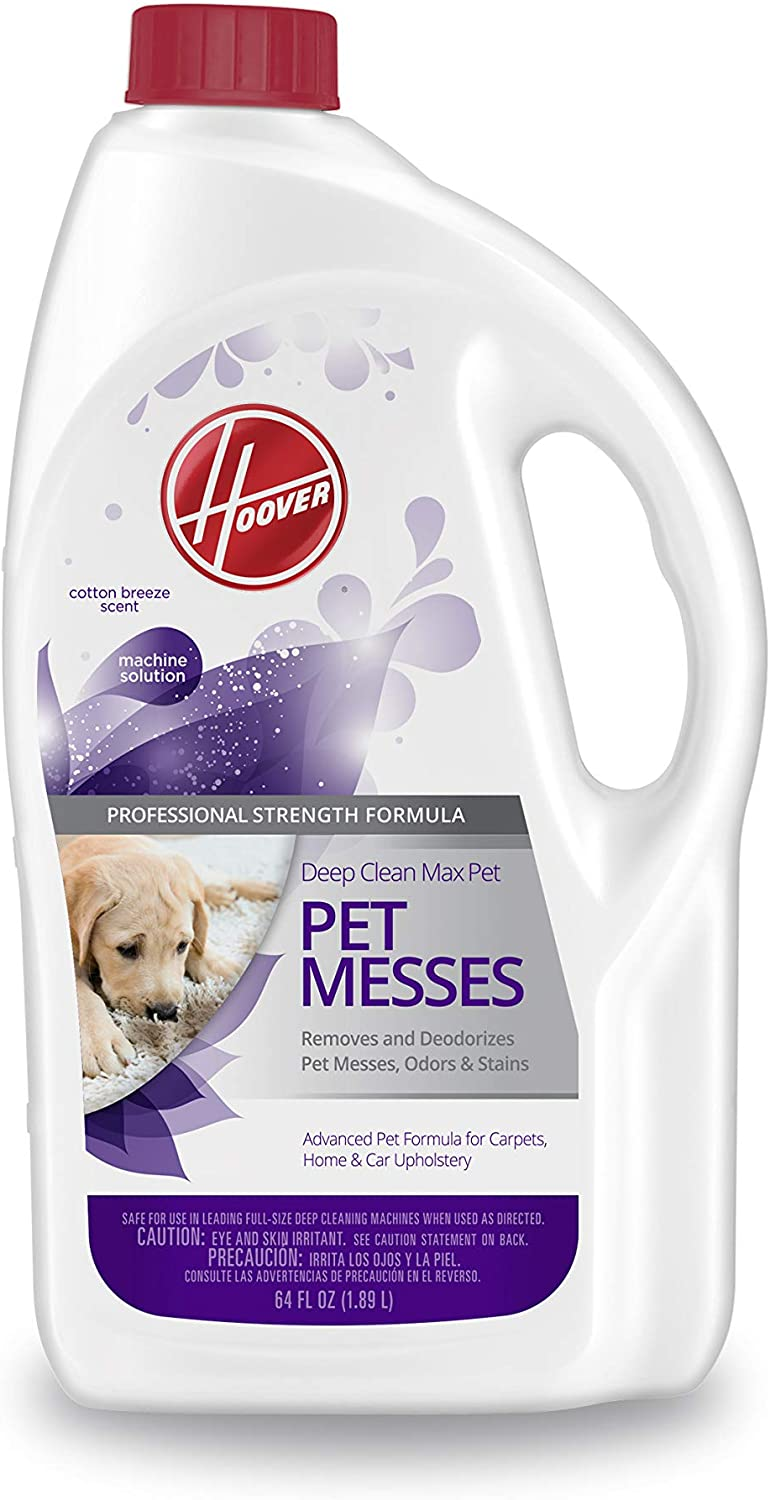 Hoover Max Deep Cleaning Carpet Shampoo, Concentrated Machine Cleaner Solution for Pets, 64 oz Formula, AH30821, White, 64 Fl Oz