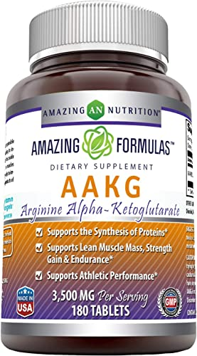 Amazing Formulas AAKG Arginine Alpha-Ketoglutarate 3500 Mg Per Serving, 180 Tablets Non-GMO -Supports Synthesis of Proteins* -Supports Lean Muscle Mass, Strength Gain Endurance*
