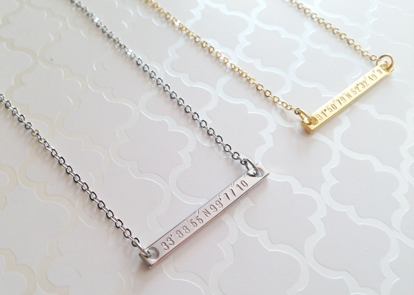 Amazon super dainty gps coordinate necklace personalized gold amazon super dainty gps coordinate necklace personalized gold silver bar necklace gps coordinate necklace 2n handmade aloadofball Image collections