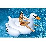 YunNasi Piscine Gonflable Bouée Cygne Géant Jeux Baignoire Bassin Enfants 150cm Blanc
