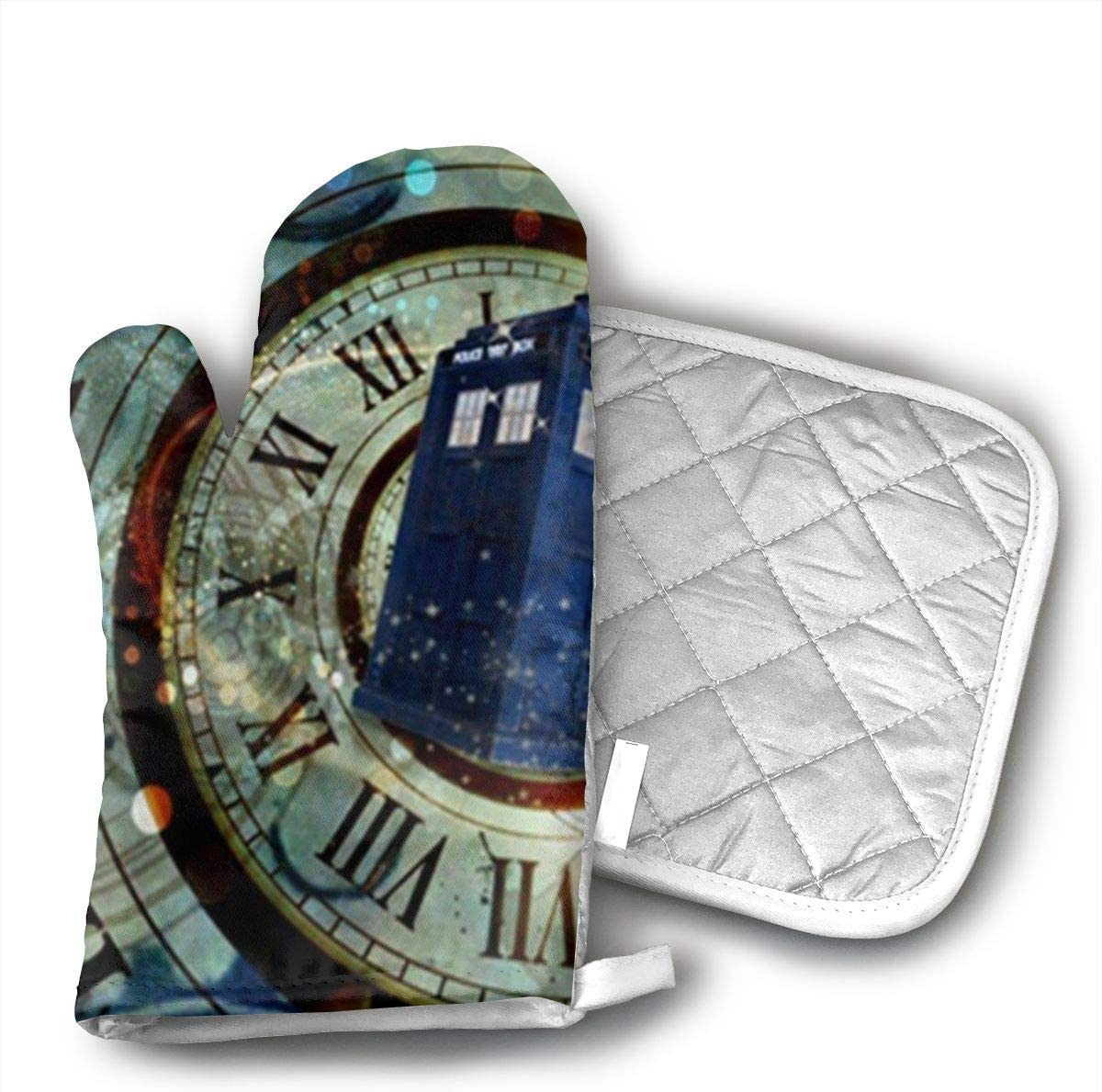 HiHMJ Doctor Dr Who Police Box Mice Custom Design Cool Gaming Mousepd Mouse Pad Mat 12 Kitchen Cotton Coating Oven Mitts Heat Resistant Potholder Gloves Microwave Oven Glove