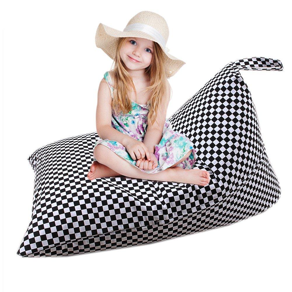 Rangement de jouets qui se transforme en pouf pour enfants, grande contenance, matériau peluche, gris, avec poignée A LYL 74 Comaie