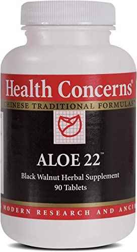 Health Concerns – Aloe 22 – Aloe Cleansing Chinese Herbal Supplement – Intestinal Support – with Black Walnut Hulls – 90 Count
