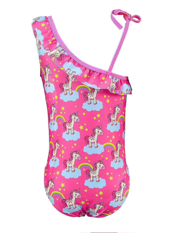 BhzHJ Toddler Girls One Piece Unicorn Swimsuits One Shoulder Adjustable Ruffle Swimwear Bathing Suits