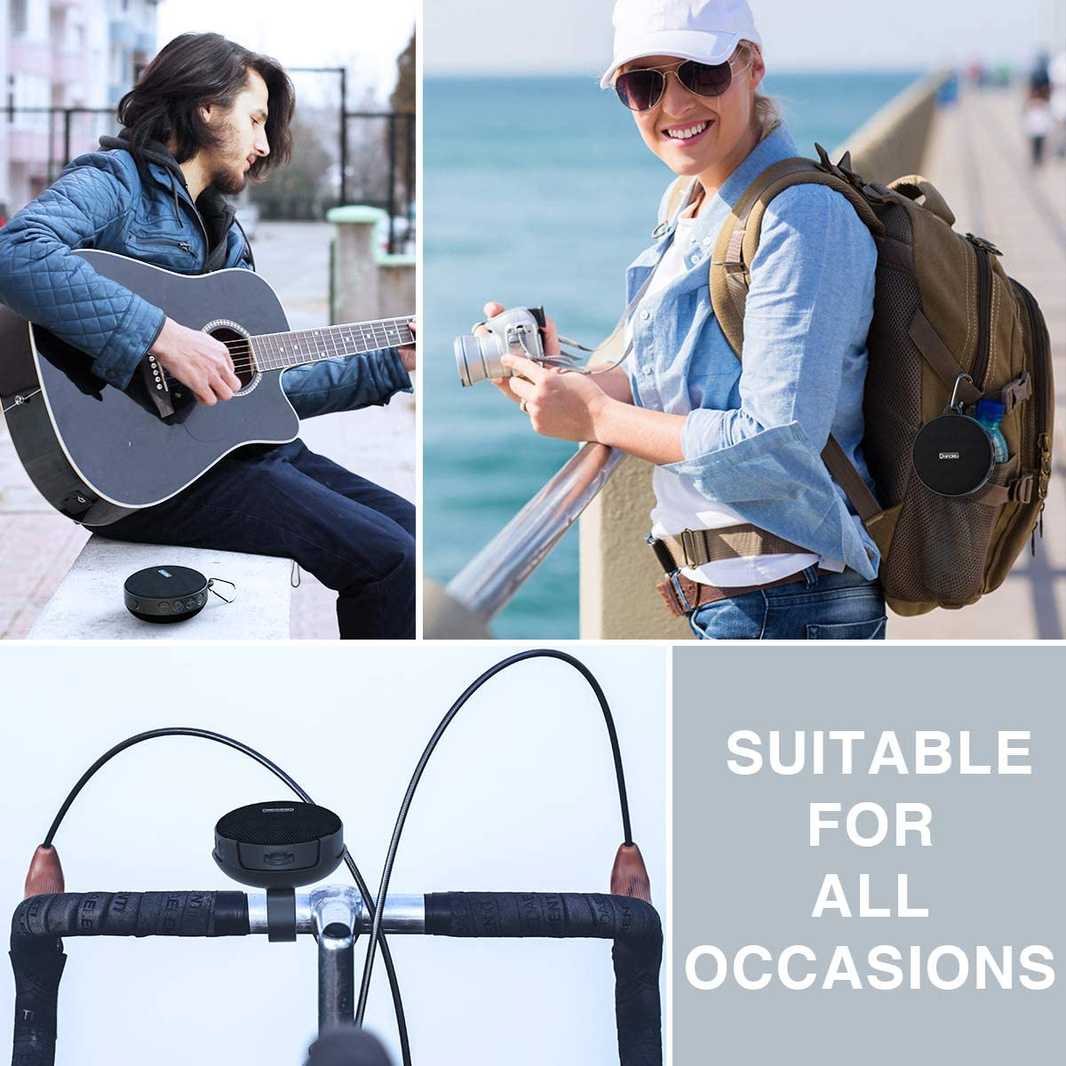 Onforu Portable Bluetooth Speaker for Bike Wireless Bicycle Speaker with Loud Sound Bluetooth 5.0 and 10h Play Time Hiking and Camping IPX7 Waterproof Mini Outdoor Speaker for Riding