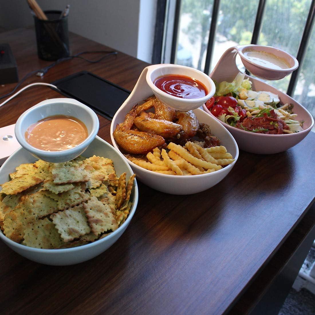 2 patatine fritte di insalata di frutta Antipasti di frutta che servono piatti da portata Piatti per la cena in famiglia//festa Emall life Set da 2 ciotole di snack e tuffo Bianco