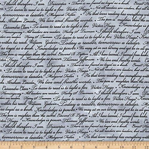 Benartex Kanvas Renaissance Man Words of Wisdom Grey Fabric By The Yard (Renaissance Writing)