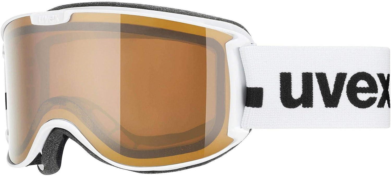 Weiß mat braun-clear uvex Unisex – Erwachsene, skyper P Skibrille, Weiß mat