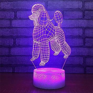 cb2a4f4d06 USB alimentado decorativo Perro 7 Colores de Control Remoto Ilusión Óptica  Luz de La Noche Crackle ...