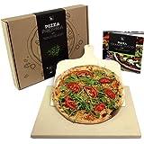 #benehacks Pietra Refrattaria Propria Forno Pizza e Barbecue – Pietra Pizza per Forno da Cucina Elettrico – Barbecue Carbone e Forno a Gas – Pietra Naturale con Pala per Pizza e Libro Ricette