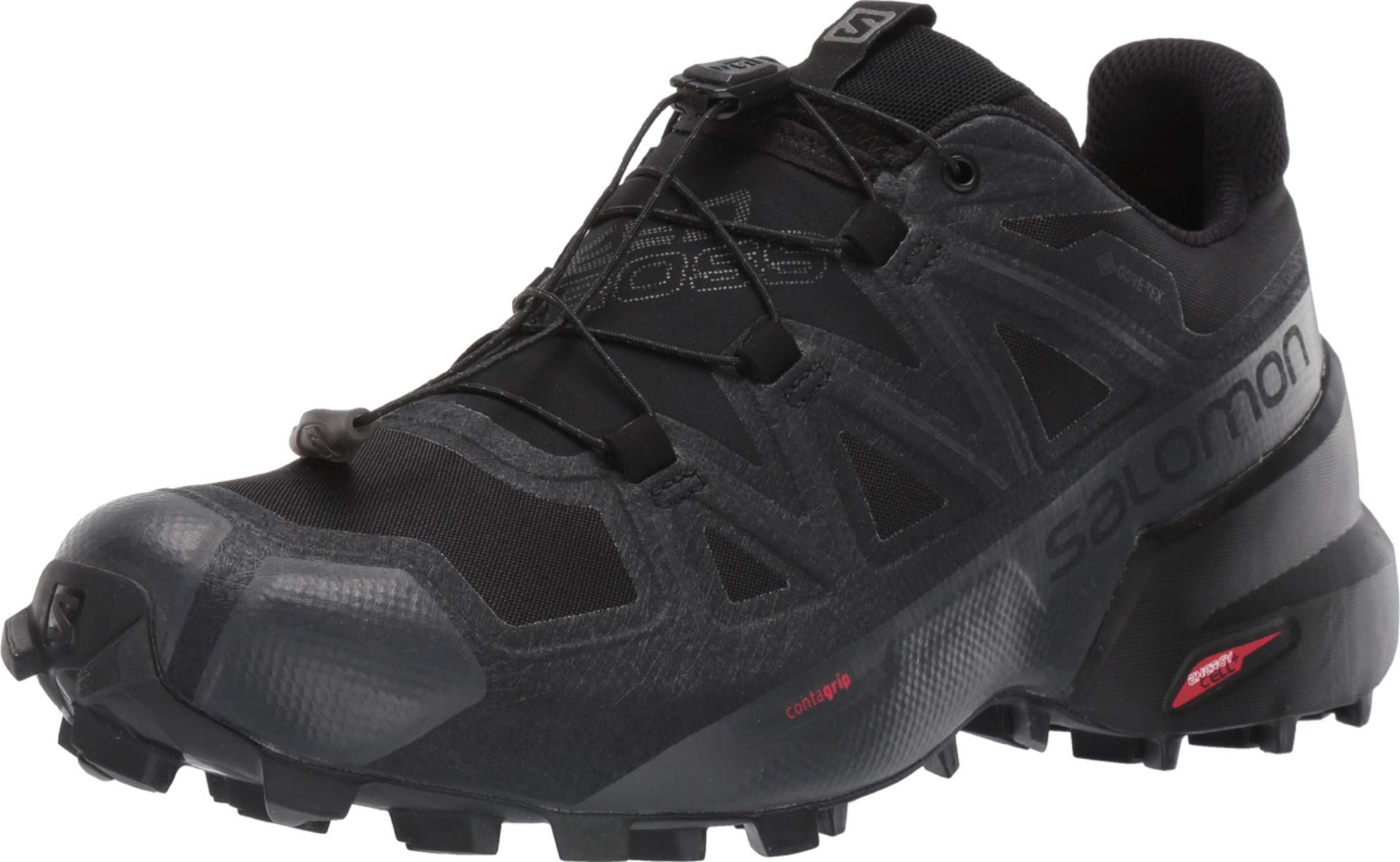 Salomon Women's Speedcross 5 GTX Trail Running Shoes, Black/Black/PHANTOM, 6 by SALOMON