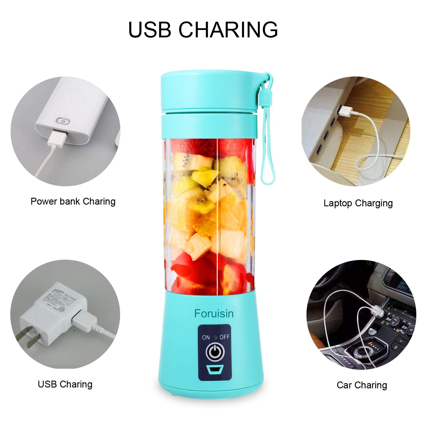 Foruisin Portable Personal Blender, Household Juicer fruit shake Mixer -Six Blades, 380ml Baby cooking machine with USB Charger Cable (Cyan) by Foruisin (Image #5)