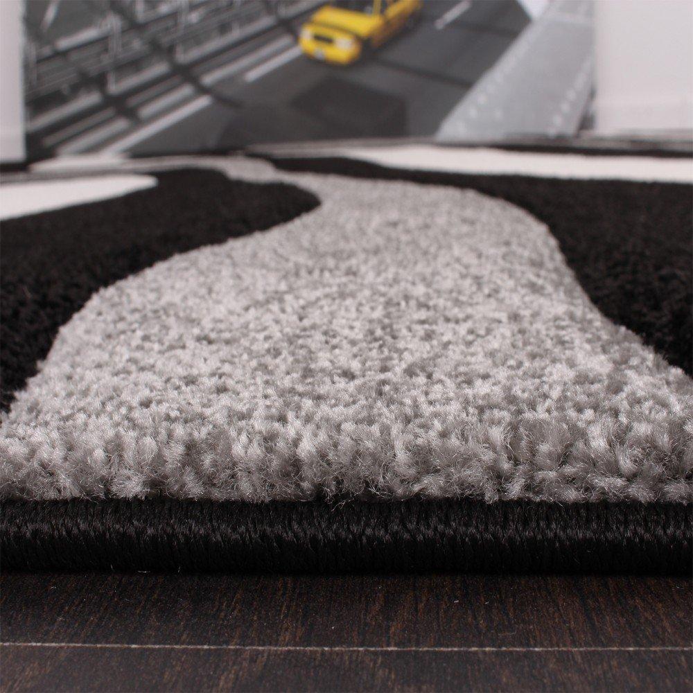 Designer Teppich mit Konturenschnitt Wellen Muster Schwarz Grau ...