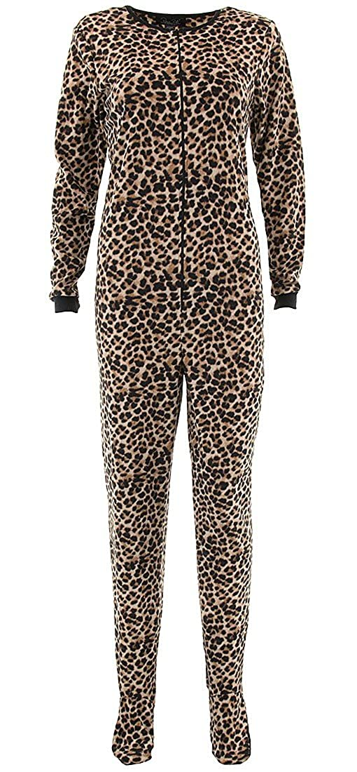 e967be61f8dd Rene Rofe Women s Leopard Beige Fleece Footed Pajamas XL at Amazon Women s  Clothing store