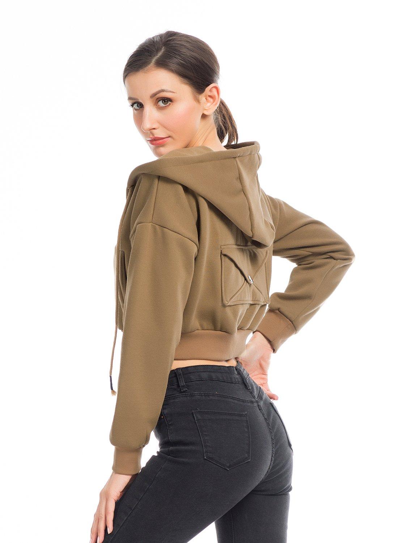 PERSUN Women's Loose Solid Zip Up Sweatshirt Drawstring Fleece Hoodie,Brown,XL by PERSUN (Image #2)