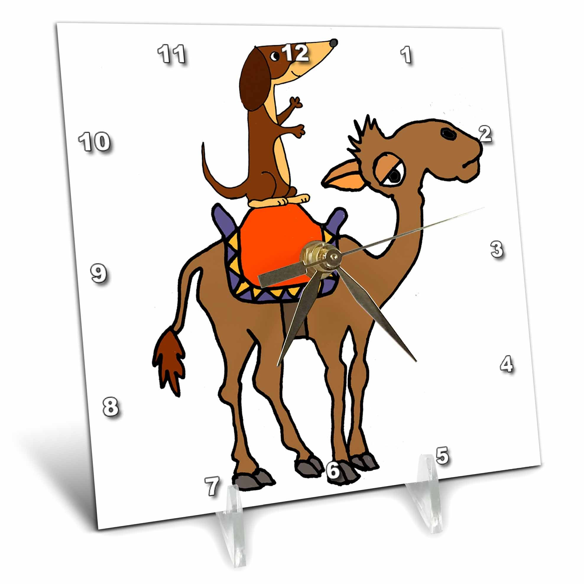3dRose All Smiles Art Animals - Funny Cool Dachshund Dog Riding Camel Cartoon - 6x6 Desk Clock (dc_281476_1)
