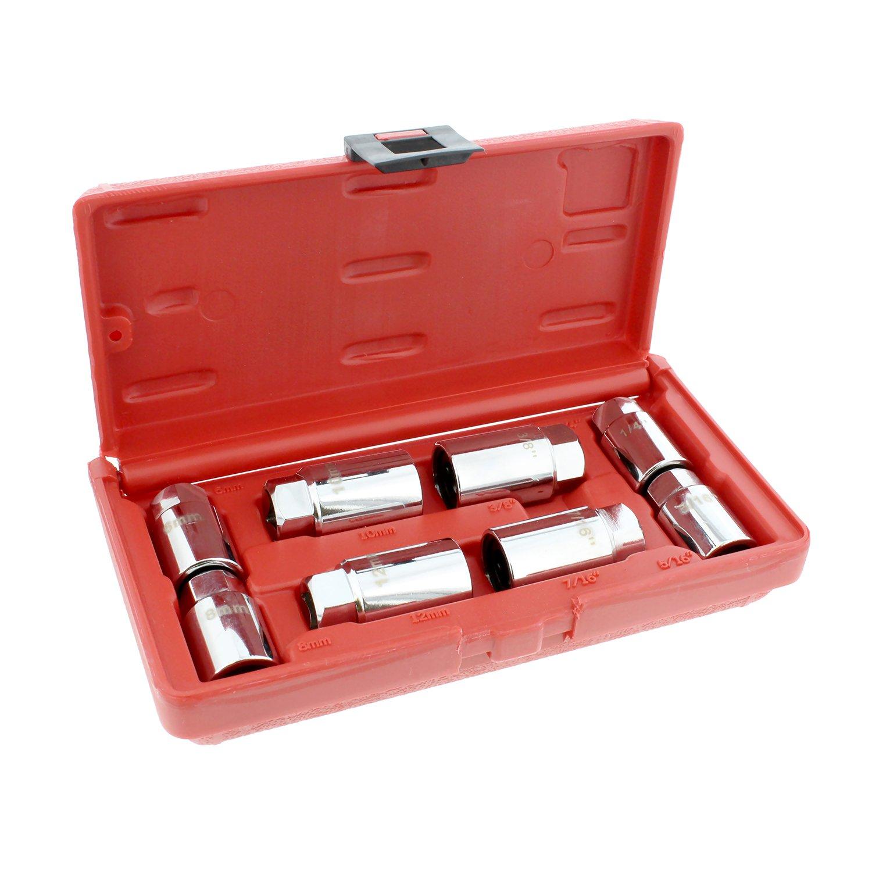 ABN Stud Extractor Set, Broken Stud Removal Socket 8-Piece SAE & Metric Stud Remover Set - Stud Puller Sockets by ABN