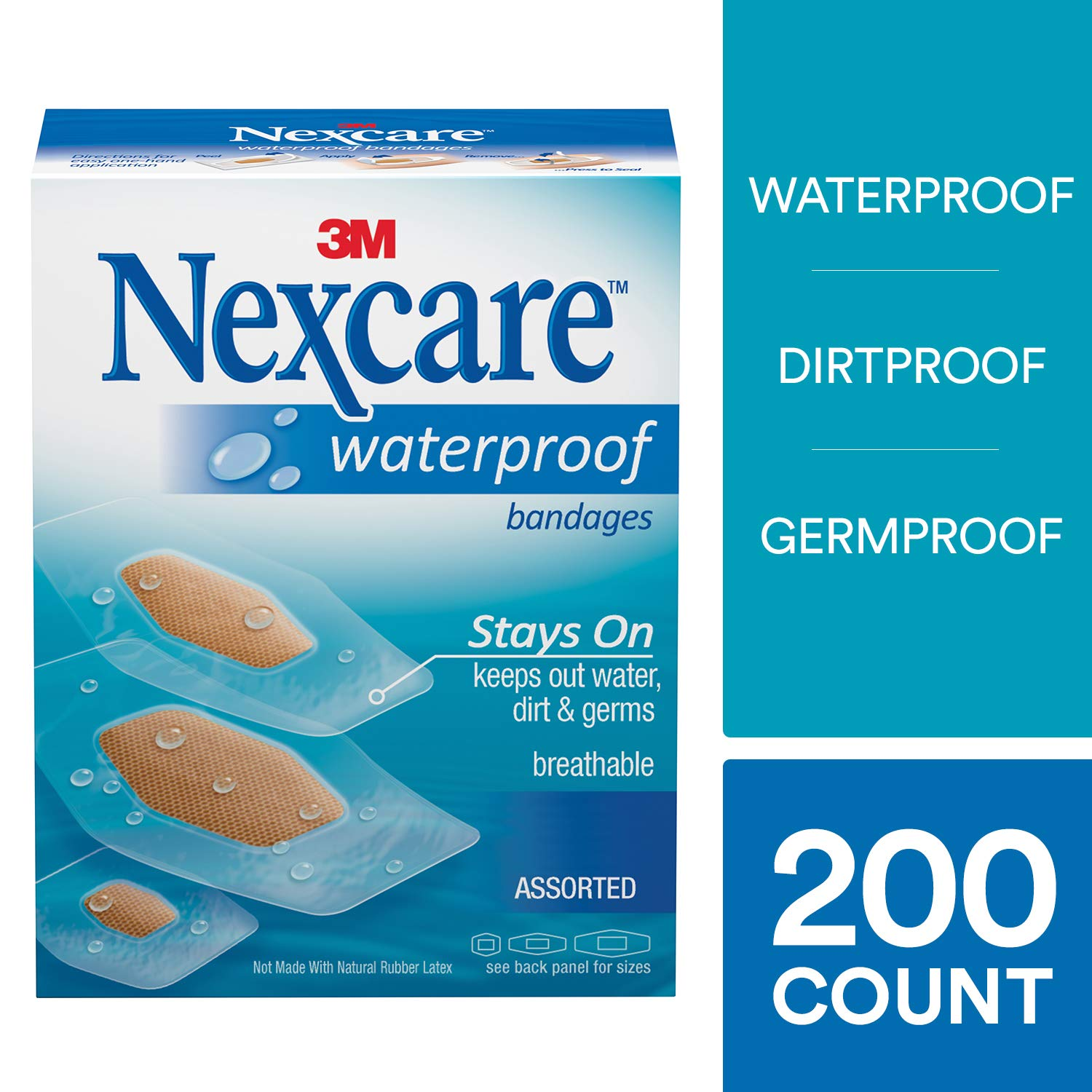 Nexcare Waterproof Clear Bandages, Assorted Sizes, 200 Count by Nexcare