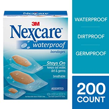 Nexcare Waterproof Clear Bandages, Assorted Sizes, 200 Count