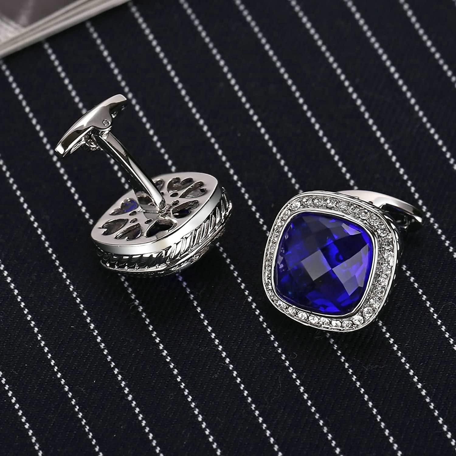 Mens Cufflinks Stainless Steel Rounded Cz Square Zirconia Silver Blue 2.1X2.1CM Xmas Gift Box Aooaz