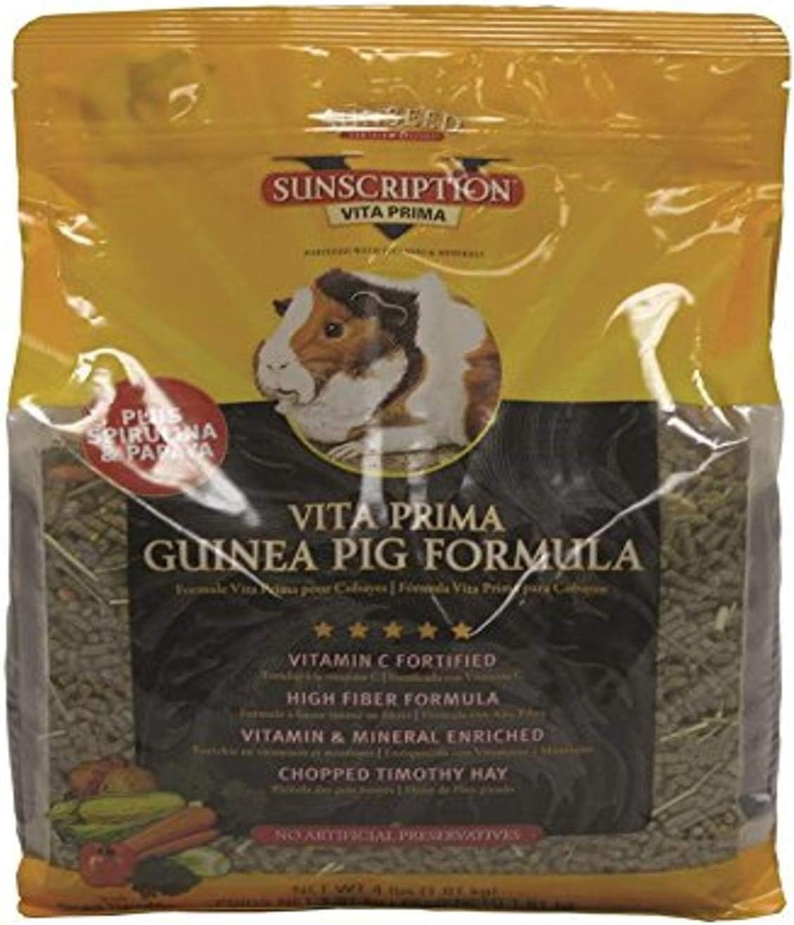 Sun Seed Company Sss49100 Vita Plus Daily Diet Guinea Pig Food, 4-Pound
