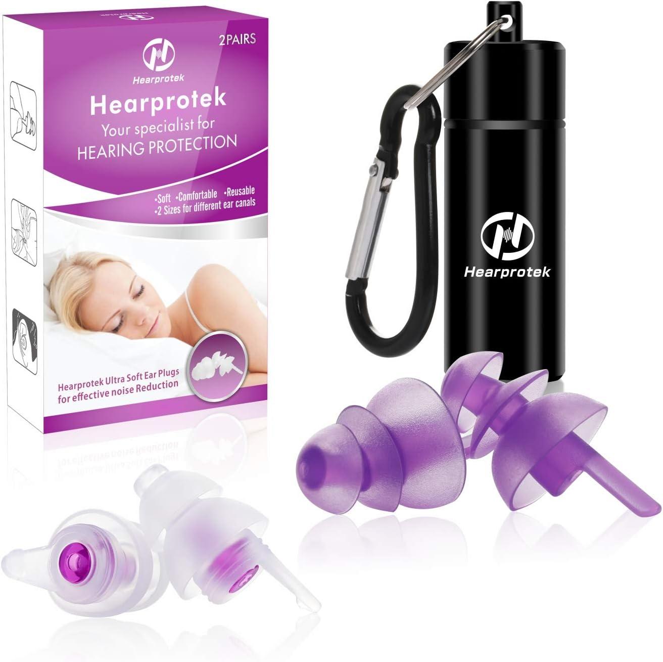 【2019 Nuevo diseño】 Tapones para los oídos para Dormir, Hearprotek 2 Pares Protección Auditiva Tapones(32db & 30db) para reducción de Ruido, Traviesas Laterales, ronquidos, Viajes, Trabajo