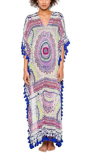 67cf5ee76 Mujer Vestidos Playa Elegantes Largos Moda Suelta con Borla Vestidos Boho Sin  Lindo Chic Mangas V Cuello Flores Estampado Vintage Etnicas Estilo Casual  ...