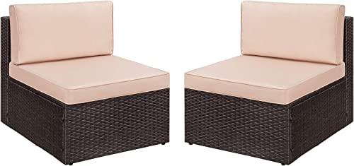 Devoko 2 Pieces Patio Furniture Sets All-Weather Outdoor Sectional Armless Sofa Beige