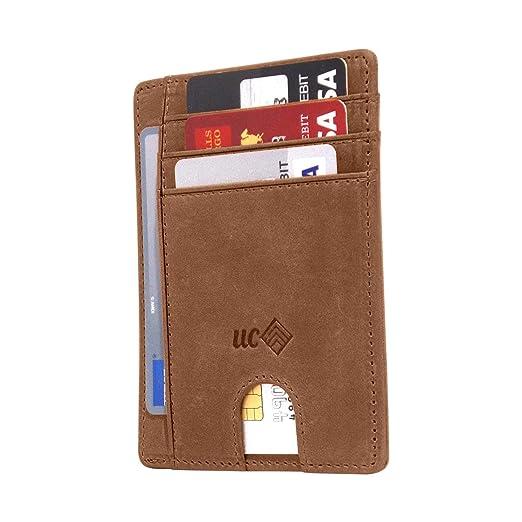 2cd40ad2c332 Slim Minimalist Front Pocket RFID Blocking Leather Wallet for men, and  Credit Card Holder