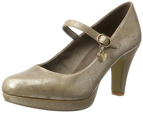 24401, Zapatos de Tacón Mujer, Dorado, 40 EU s.Oliver
